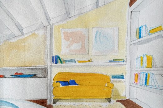 soggiorno con divano giallo
